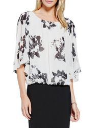 Vince Camuto | White 'illuminating Floral' Bell Sleeve Blouse | Lyst