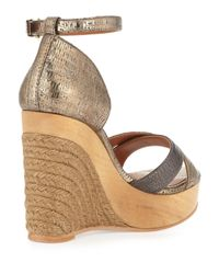 Lanvin Metallic Espadrille Wedge Sandal