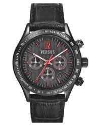 Versus - Black 'cosmopolitan' Chronograph Leather Strap Watch for Men - Lyst