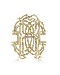 Roberto Cavalli - Metallic Rc Icon Gold Tone Metal Bracelet - Lyst