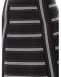 Chloé Black Textured Striped A-Line Skirt