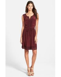 Plenty by Tracy Reese | Purple Mesh Inset Split Neck Dress | Lyst