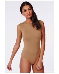 Missguided | Natural Sleeveless Bodysuit Camel | Lyst