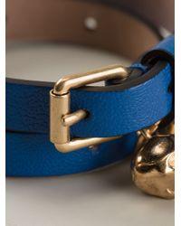 Alexander McQueen Blue Skull Wrap Around Bracelet