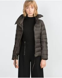 Zara | Gray Extralight Quilted Coat | Lyst