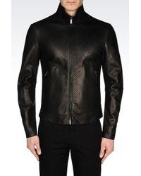 Emporio Armani Black Leather Jacket for men