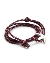 Miansai | Red Silver Tone Anchor Rope Burgundy Bracelet for Men | Lyst