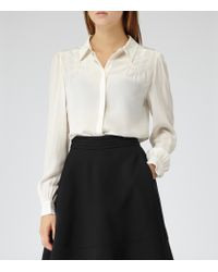 Reiss White Camile Silk Long Sleeve Shirt