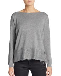Joie Gray Bastienne Lace-paneled Wool & Cashmere Sweater