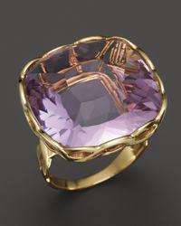 Roberto Coin 18k Yellow Gold Ipanema Square Amethyst Ring