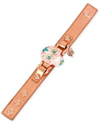 Betsey Johnson | Rose Gold-tone And Leather Pink Skull Bracelet | Lyst