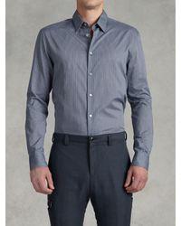 John Varvatos - Blue Classic Fit Pickstitch Shirt for Men - Lyst