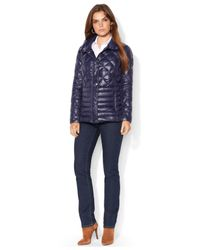 Lauren by Ralph Lauren - Blue Quilted Packable Down Barn Jacket - Lyst
