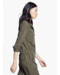 Mango Green Long Chest-Pocket Jumpsuit