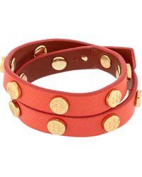 Tory Burch | Red Leather Studded Wrap Bracelet Kir Royaleshiny Brass | Lyst