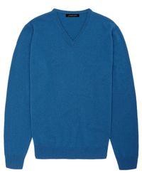 Jaeger Blue Cashmere V-neck Sweater for men