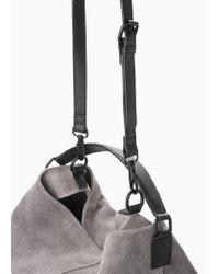 Mango Gray Leather Hobo Bag