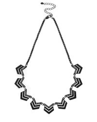 Oasis | Black Pave Mini Chevron Collar | Lyst
