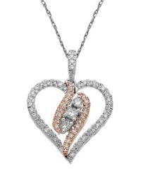 Lord & Taylor | Metallic 14Kt. White And Rose Gold Diamond Heart Pendant Necklace | Lyst