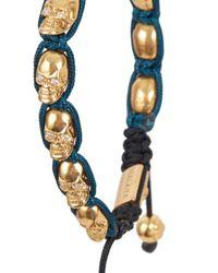Nialaya - Blue Gold-plated Crystal-embellished Skull Bracelet for Men - Lyst