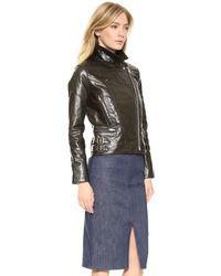 Victoria Beckham Joan Leather Biker Jacket - Ebony Black Leather