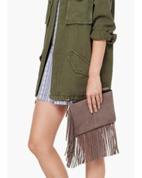 Mango | Gray Fringed Suede Clutch | Lyst