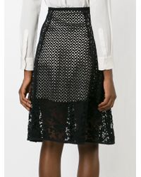 See By Chloé - Black Panelled Broderie Anglaise Skirt - Lyst