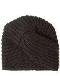 Rosie Sugden | Black Knit Cashmere Turban Hat | Lyst