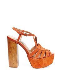 Steve Madden | Orange Gingur Suede Platform Sandals | Lyst