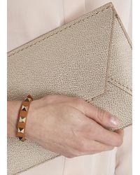 Valentino | Brown Rockstud Tan Mini Leather Bracelet | Lyst