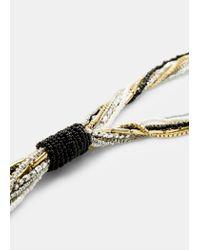 Violeta by Mango - Metallic Bead Chain Necklace - Lyst