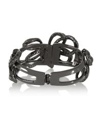 Oscar de la Renta - Metallic Gunmetal-tone Crystal Bracelet - Lyst