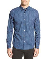Bonobos | Purple 'torrington' Slim Fit Long Sleeve Geometric Print Sport Shirt for Men | Lyst
