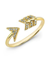 Anne Sisteron | 14kt Yellow Gold Diamond Arrow Ring | Lyst