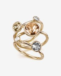 Ted Baker | Metallic Jewel Cluster Crystal Stack Ring | Lyst