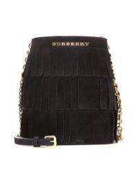 Burberry | Black Mini Fringed Suede Bucket Bag | Lyst