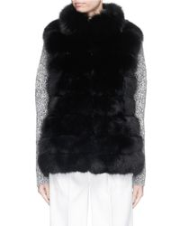 Hockley Black 'raven' Stand Collar Fox Fur Suede Gilet