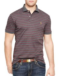 Polo Ralph Lauren | Gray Striped Pima Cotton Polo Shirt for Men | Lyst