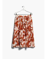 Mango Red Floral Print Skirt