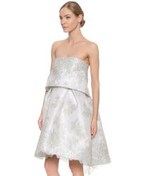 Monique Lhuillier White Folded Bodice Lace Dress - Ice Blue