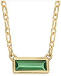 Lauren by Ralph Lauren | Green Gold-Tone Bezel Set Rectangle Stone Pendant Necklace | Lyst