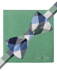 Tommy Hilfiger - Green Plaid Pre-tied Bow Tie & Solid Pocket Square Set for Men - Lyst