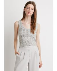 Forever 21 | Gray Cable Knit Sweater Vest | Lyst