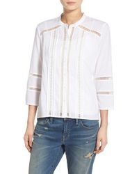 Hinge - White Collarless Cotton Blouse - Lyst
