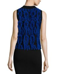 MILLY - Black Clipped Contrast Shell - Lyst