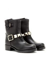Valentino Black Lock Leather Biker Boots
