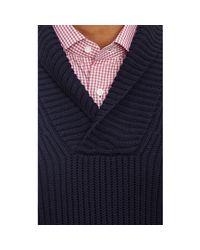 Malo Blue Shawl-Collar Sweater for men