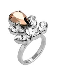 Mews London | Metallic Rose Crystal Crest Ring | Lyst
