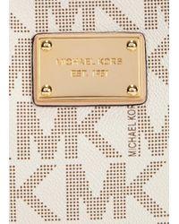 Michael Kors - Natural Jet Set Cream Monogrammed Cross-body Bag - Lyst