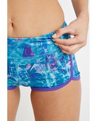 Forever 21 | Blue Abstract Print Workout Shorts | Lyst